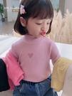 女童上衣 童裝長袖t恤女童高領打底衫兒童洋氣上衣中小童套頭2021春新款【快速出貨八折鉅惠】