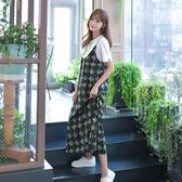 吊帶裙(套裝)-短袖碎花印花圓領寬鬆女背帶裙73nj81【巴黎精品】