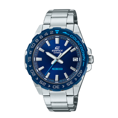 CASIO手錶專賣店 EDIFICE EFV-120DB-2A 簡約時尚指針男錶 不鏽鋼錶帶 靛藍 防水100米