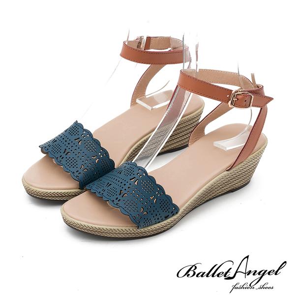 楔型涼鞋 樂活渡假真皮雕花楔型涼鞋(深藍)*BalletAngel【18-757db】【現貨】