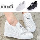 [Here Shoes]懶人鞋-內增高4cm 休閒鞋 懶人鞋 英文字母印花 水鑽 透氣孔洞-KS998