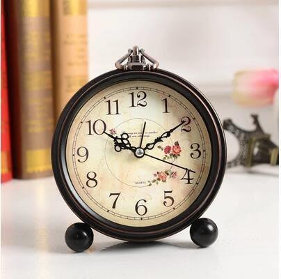 創意鬧鐘靜音個性床頭台鐘鐵藝復古小座鐘歐式懶人鬧鐘時尚學生鐘
