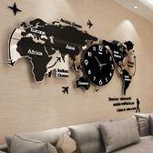 掛鐘北歐時尚世界地圖鐘表掛鐘客廳現代簡約大氣時鐘創意掛表藝術裝飾 萬聖節