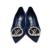 【台中米蘭站】全新品 Louis Vuitton 絨質金頭水鑽高跟鞋(36/海軍藍)