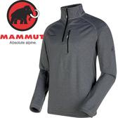【MAMMUT 男Runbold ML Zip刷毛半門襟 刷毛中層衣《黑》】1040-01600/中層衣/刷毛衣★滿額送