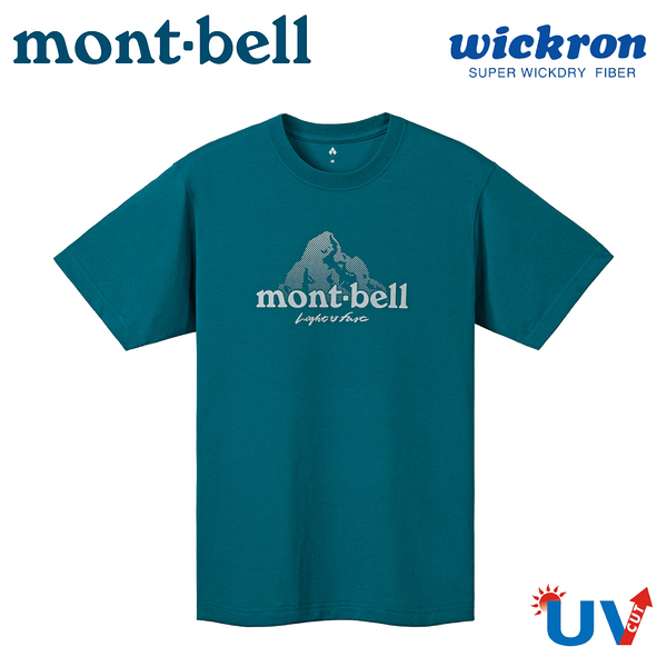 【Mont-Bell 日本 男 Wickron LOGO山 短袖排T《深野綠》】1114471/吸濕排汗/抗UV/休閒衫/運動