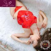 情趣肚兜式睡衣女士性感成人套內衣吊帶古典古裝古代宮廷紅火辣騷 全館滿額85折