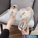 增高拖鞋 拖鞋女夏外穿新款時尚厚底楔形鬆糕厚底增高跟一字涼拖 星河光年