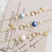 日本星星珠鋯石月亮水晶珍珠細款手?女簡約生日禮物Mandyc