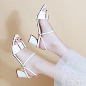 粗跟涼拖鞋女中跟外穿2020夏新款一字拖時尚百搭高跟鞋兩穿大碼涼鞋 LR19962『麗人雅苑』
