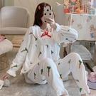 睡衣 珊瑚絨睡衣女冬韓版甜美可愛公主風花邊加厚法蘭絨保暖家居服套裝【快速出貨八折搶購】