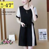 洋裝--氣質亮麗條紋拼接側身綁帶圓領短袖連身裙(黑M-3L)-D540眼圈熊中大尺碼