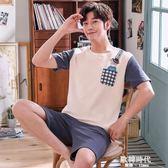 男士睡衣夏季純棉睡衣男夏薄款短袖短褲休閒全青年家居服卡通套裝 歐韓時代