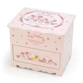 〔小禮堂〕美樂蒂桌上型木製掀蓋單抽化妝鏡收納櫃《粉》化妝鏡盒飾品盒4901610 04632