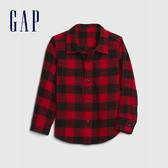 Gap男幼童 法蘭絨格紋翻領長袖襯衫 620191-紅色方格