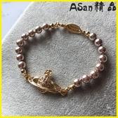 【伊人閣】手鍊 首飾金色滿鉆小土星煙褐色珍珠手鍊