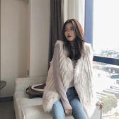 復古毛毛背心女韓版簡約時尚加厚保暖無袖背心外套 熊熊物語