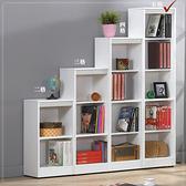 【水晶晶家具/傢俱首選】CX1490-1 布萊尼1.3×5.5呎白色耐磨木心板五格開放書櫃~~三色可選