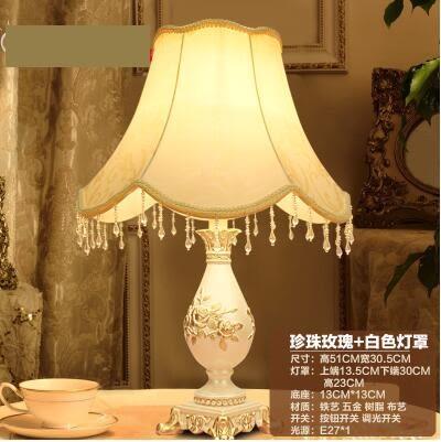 美術燈 法式浪漫台燈歐式台燈具臥室床頭燈公主田園創意按鈕-不含光源