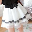 白色蕾絲紗裙半身裙女春夏季褲裙鬆緊腰蓬蓬裙高腰網紗打底裙短裙 青木鋪子
