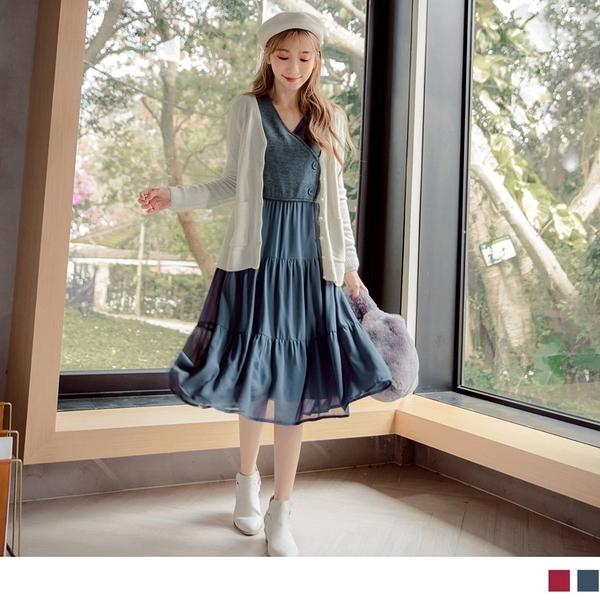 《DA7320-》質感針織拼接厚雪紡長洋裝 OB嚴選