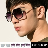 OT SHOP太陽眼鏡‧歐美系方框粗框造型太陽眼鏡‧梯形設計堅固金屬鏡腳 霧黑漸層灰NU25