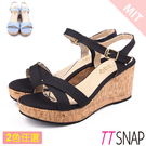 楔型涼鞋-TTSNAP 夏日百搭露趾軟木厚底坡跟涼鞋 黑/淺藍