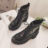 英倫2018春季短靴女圓頭粗跟側拉鏈短筒靴高跟及裸靴馬丁靴女秋冬