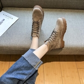 短靴 馬丁靴女春秋單靴新款英倫風百搭ins網紅小跟子 - 歐美韓
