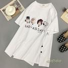 短袖t恤女新款超火白色中長款夏韓版寬鬆歐貨大版ins潮上衣服「時尚彩虹屋」