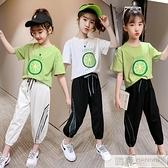 女童套裝網紅夏裝2021新款女孩洋氣10歲短袖12兒童運動大童衣服13 夏季新品