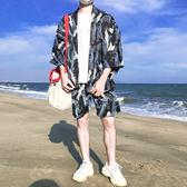 防曬衣男超薄夏季潮流風日系道袍和服男寬鬆港風開衫七分袖黑色白鶴—聖誕交換禮物