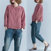 棉麻格子襯衫女新款秋裝打底衫顯瘦大碼寬鬆下擺系帶立領上衣