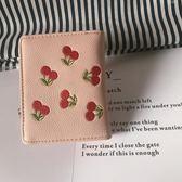 韓國ins可愛少女心櫻桃刺繡荔枝紋軟皮錢包零錢包硬幣包短款錢包 青山市集