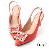 D+AF 華麗指標.水鑽飾釦後空尖頭高跟鞋*紅