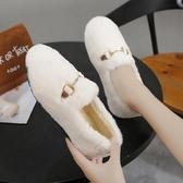 懶人鞋 網紅毛毛鞋女冬外穿平底瓢鞋白色懶人一腳蹬棉鞋加絨羊羔毛豆豆鞋【【八折搶購】】
