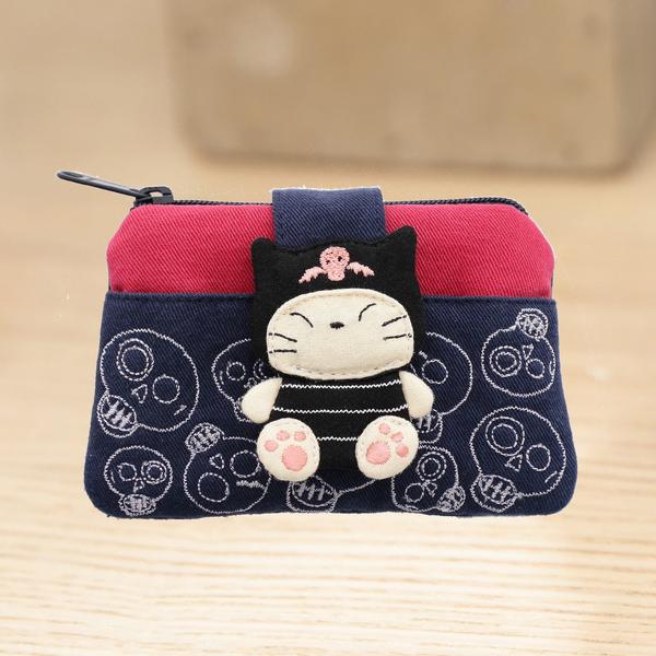 Kiro貓‧小惡魔 刺繡 拉鍊 零錢包/卡片小物包/耳機收納包【221362】