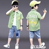 夏日系兒童襯衫短袖2021新款上衣帥氣男童格子襯衣薄款洋氣大童潮