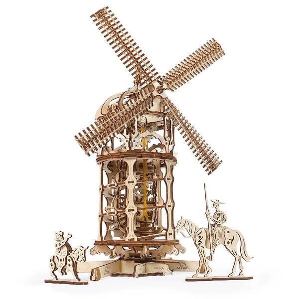 Ugears 自我推進模型 - 唐吉軻德的風車 Tower Windmill 來自烏克蘭.橡皮筋動力.機械驚奇 ! 強強滾
