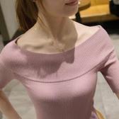 針織衫冰絲針織衫女短袖一字肩上衣夏秋季套頭打底衫短版修身薄款毛衣