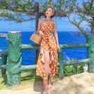 VK精品服飾 韓系V領性感波點不規則裙子荷葉邊無袖洋裝