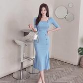 歐媛韓版 新款兩件套 夏裝時尚韓版修身 雙排扣針織上衣 包臀魚尾裙套裝女洋裝