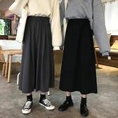 裙子女2020新款學生冬季高腰中長款a字裙秋冬黑色半身裙長裙春季 韓國時尚週