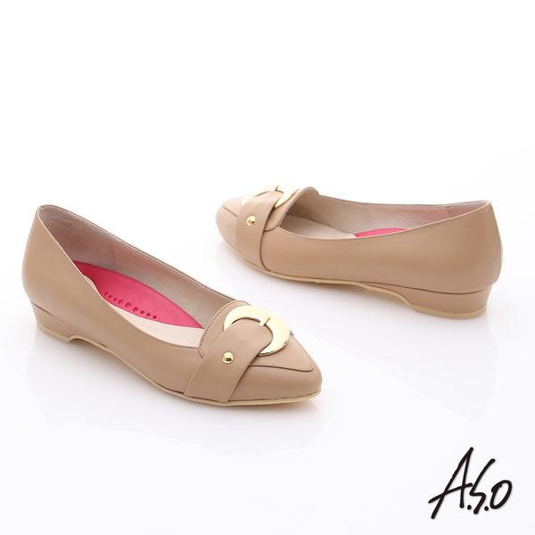 A.S.O 職場女力 柔軟真皮皮帶飾扣低跟鞋  卡其