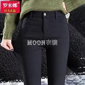 加絨打底褲女外穿2021秋冬新款高腰顯瘦小腳黑色鉛筆保暖魔術褲子 新年禮物