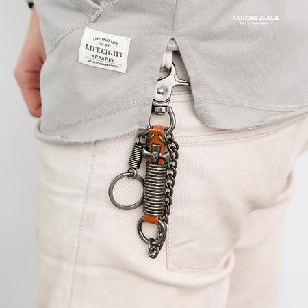 骷髏十字架淺咖皮革鑰匙圈 柒彩年代【NF79】掛於包包/腰間