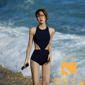 韓國溫泉泳衣女連體黑色美背遮肚顯瘦性感露背海邊比基尼【慢客生活】