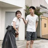 情侶裝夏裝套裝新款春裝qlz氣質韓版百搭短袖T恤男女洋裝子 初語生活館
