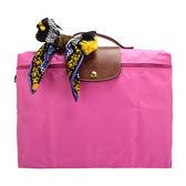LONGCHAMP 尼龍摺疊方形手提包(桃粉色/含帕巾)480103-15