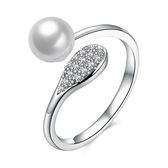 925純銀珍珠戒指-典雅氣質閃亮鑲鑽生日聖誕節禮物女飾品73kz9[時尚巴黎]